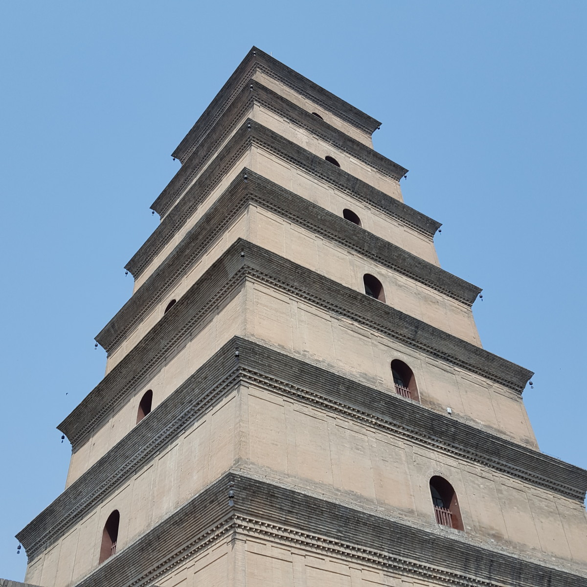 The Big Wild Goose Pagoda against a blue sky.
