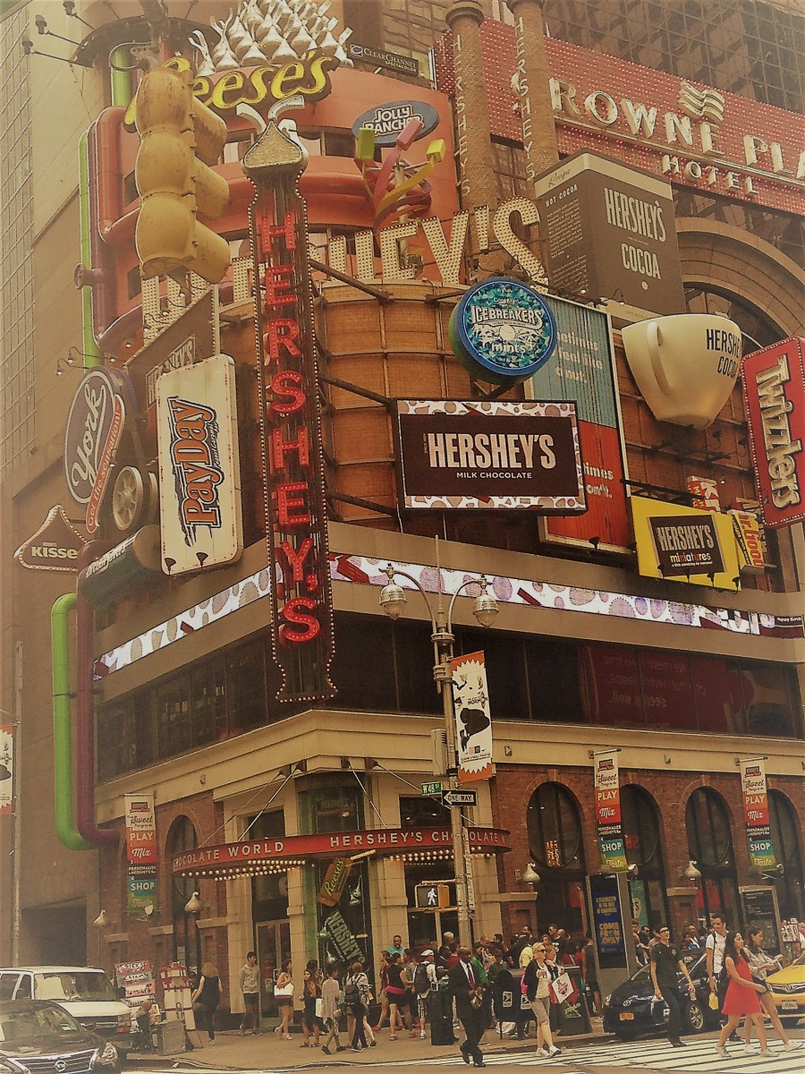 Kids will love shopping in Times Square if Candy is involved. Here the Hershey Store with its multiple levels of chocolate goodness.