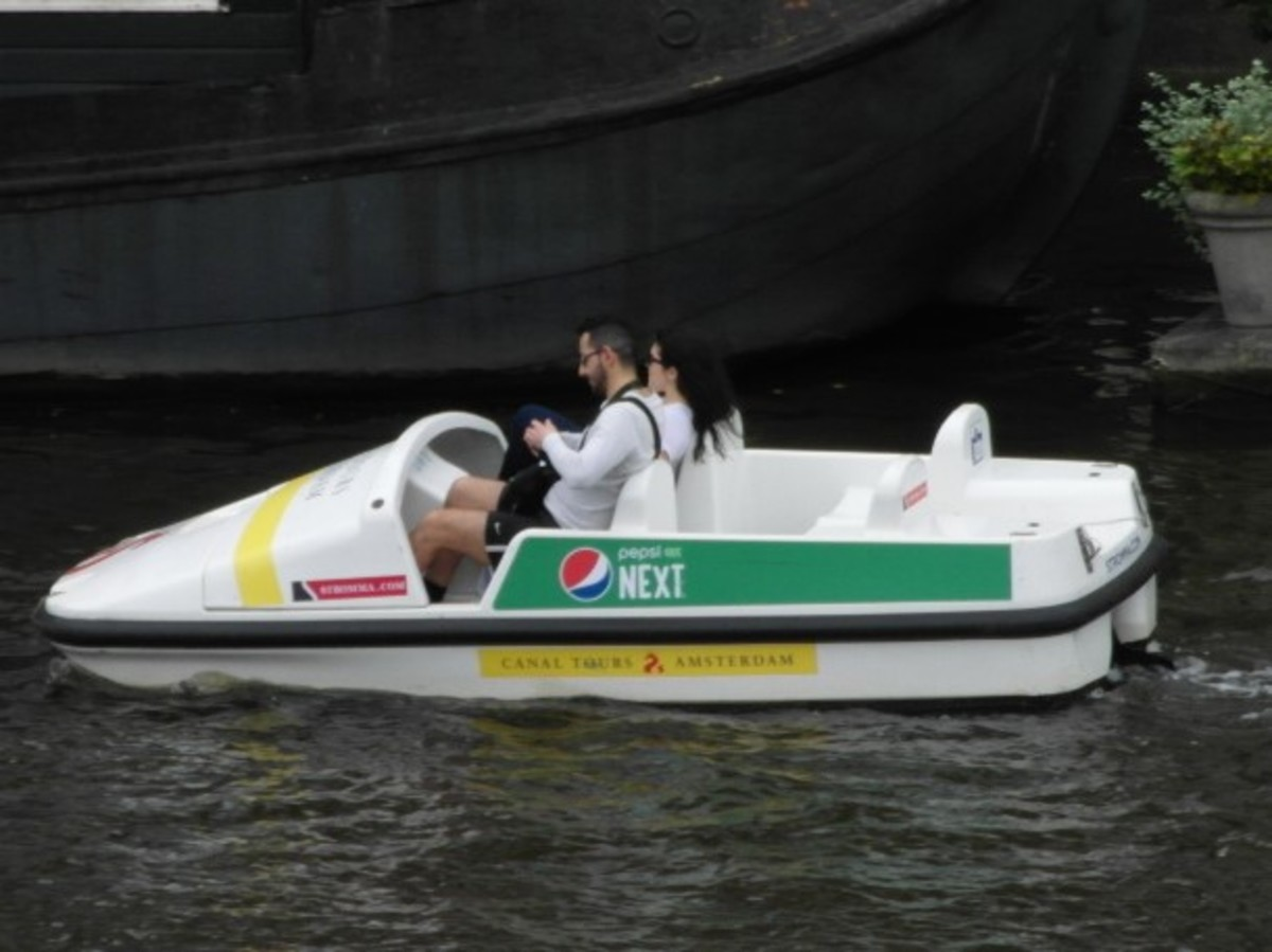 Pedalo on the Amstel.