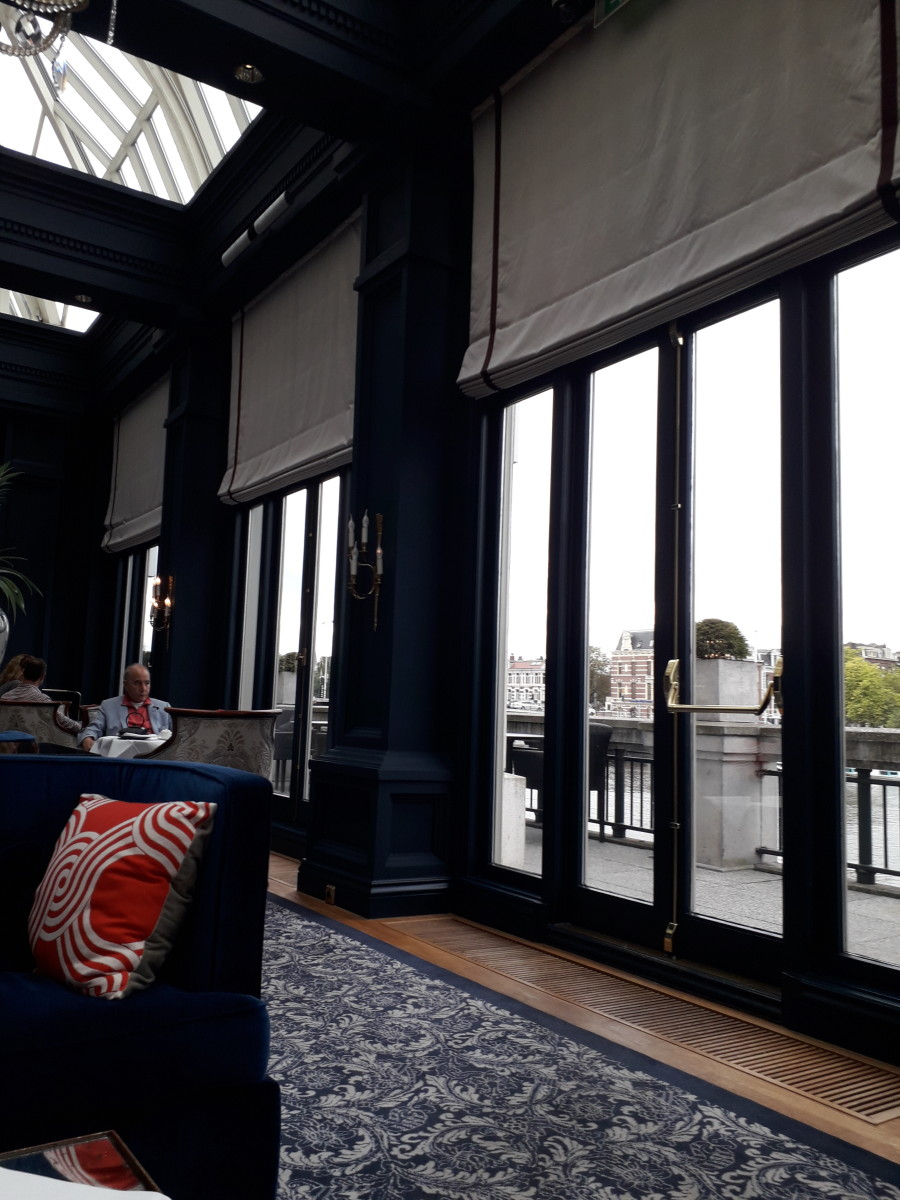 The lounge looking out over the River Amstel.