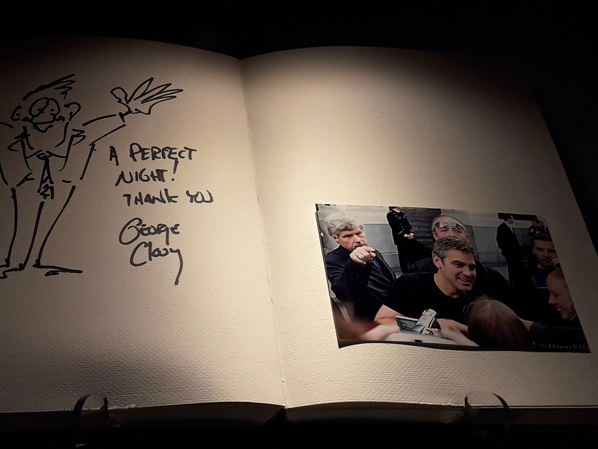 George Clooney signed the visitors' book.