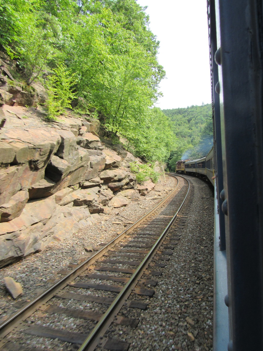 Rounding a bend along the Lehigh Gorge scenic railway.