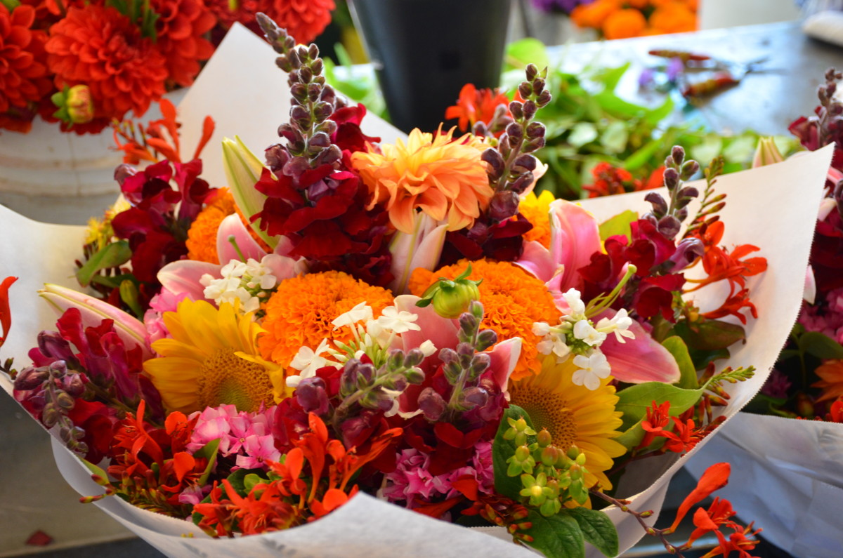 Fresh flowers for sale at Pike Place Market in downtown Seattle