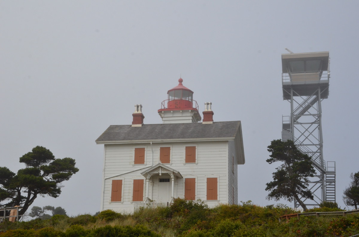 Yaquina Bay Lighthouse in the fog - Newport, Oregon