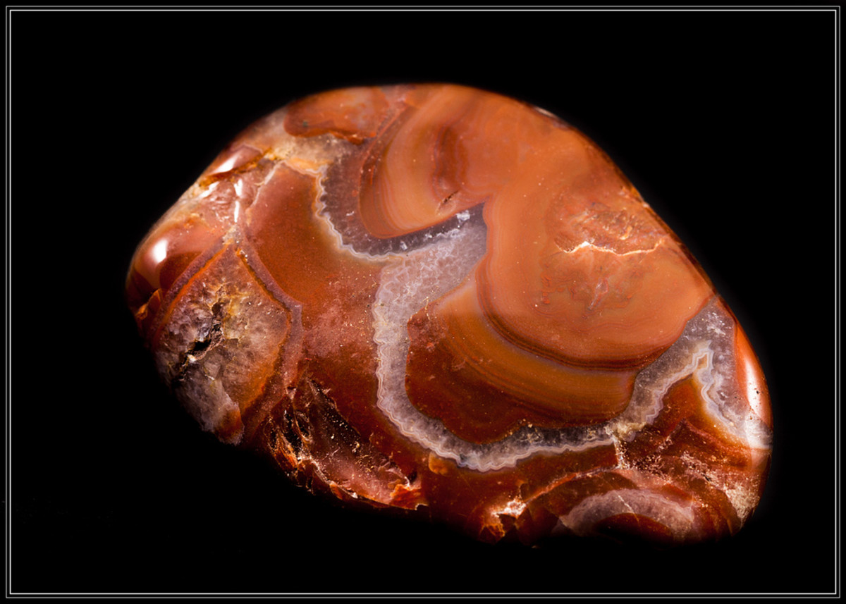 An example of an agate which can be found at Agate Beach. Note:  This agate has been polished in a tumbler.