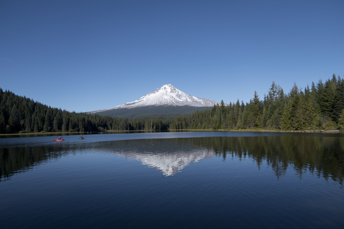 Mount Hood towering behind Trillium Lake
