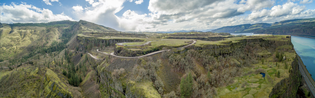 Rowena Crest Viewpoint as seen from a drone