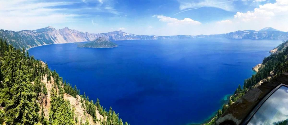 Crater Lake National Park on a smoky afternoon