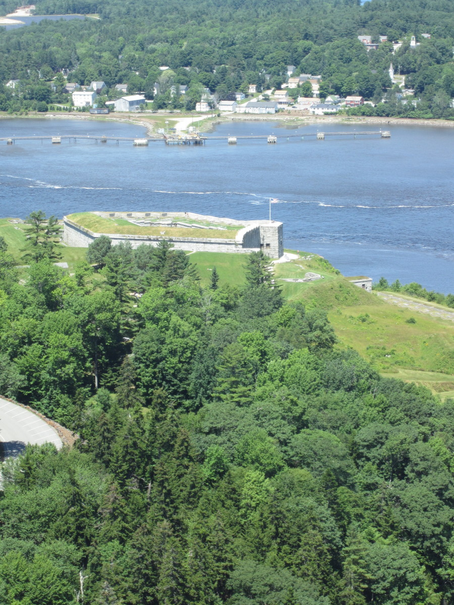 View of Fort Knox and Bucksport, ME from the observatory.