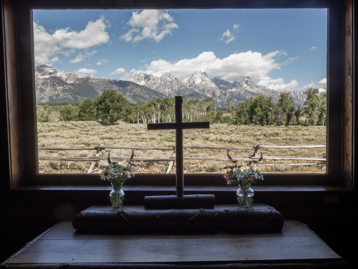 View from inside the Chapel of the Transfiguration in Grand Teton National Park, Wyoming