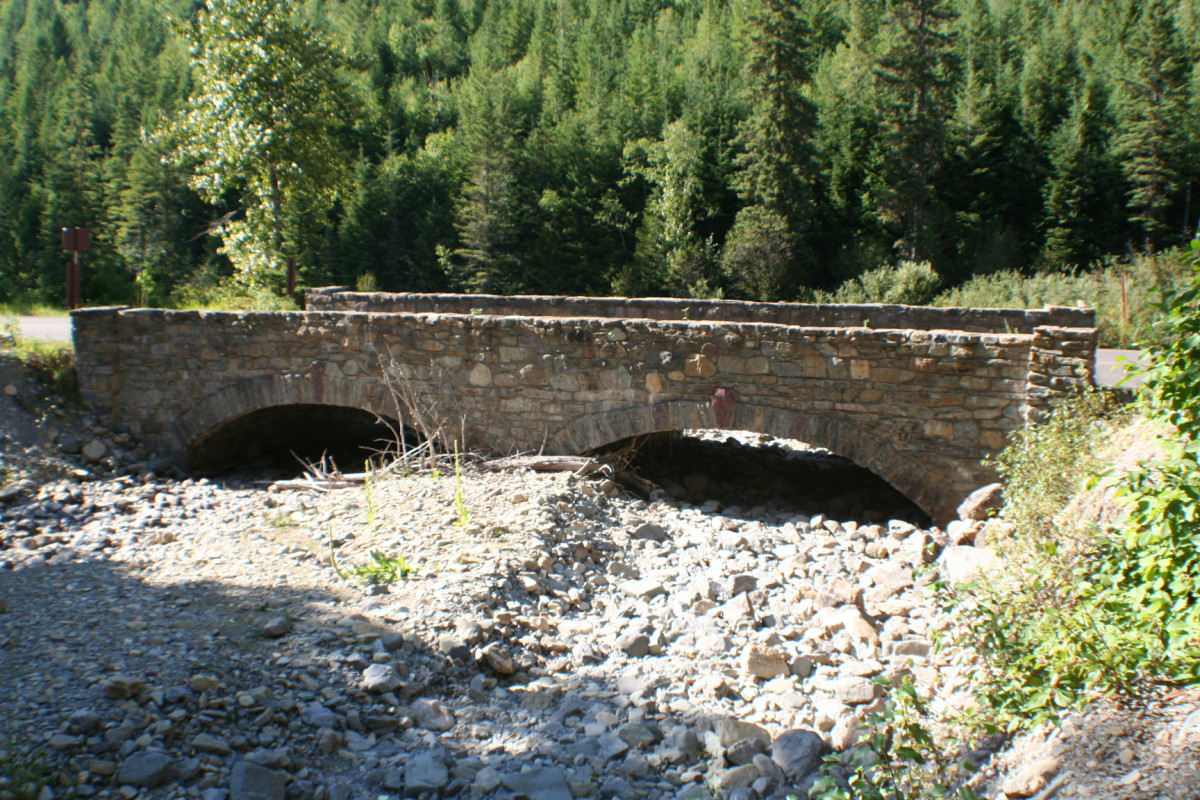 Old stone bridge near Haystack Creek for snow melt runoff