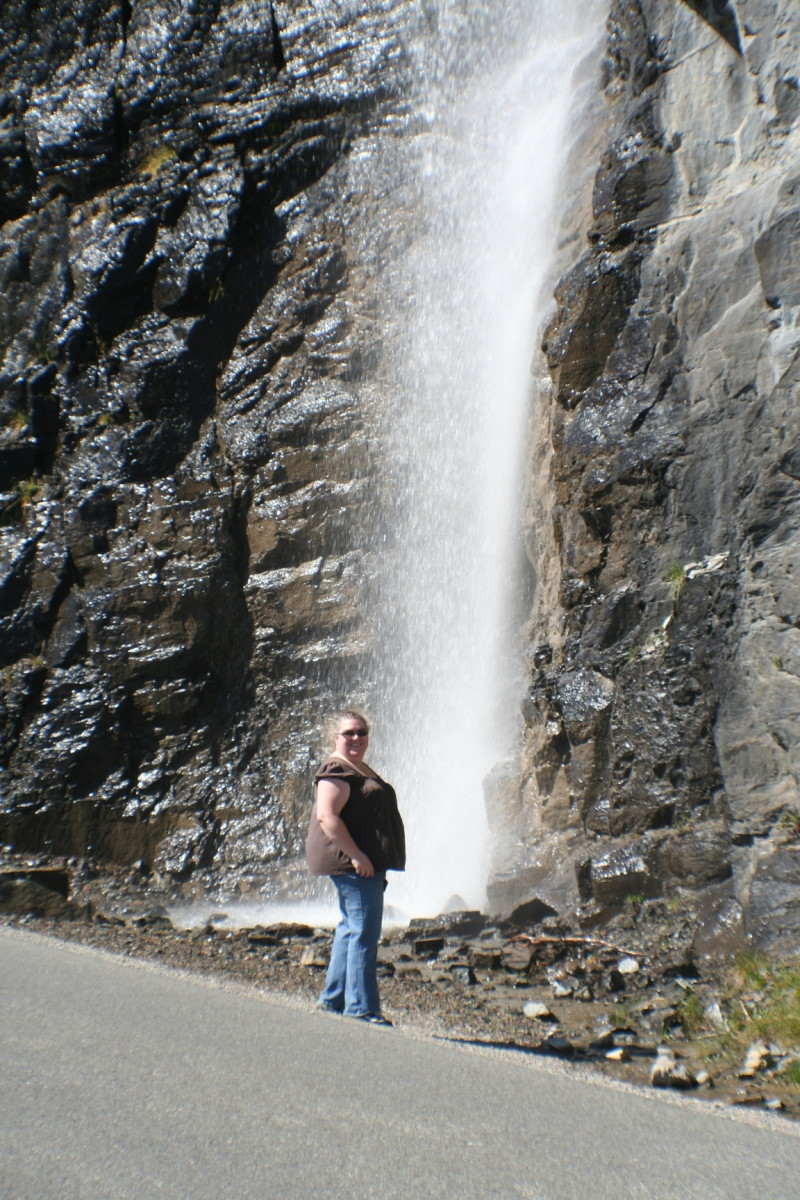 Roadside waterfall and my wife, Michelle