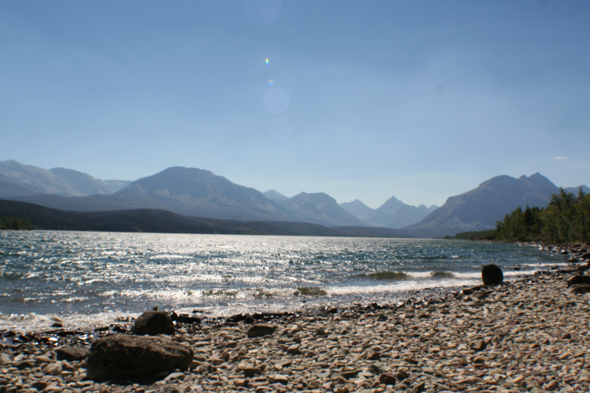 The beach at St. Mary Lake