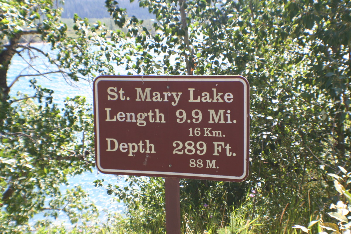 The sign at St. Mary Lake
