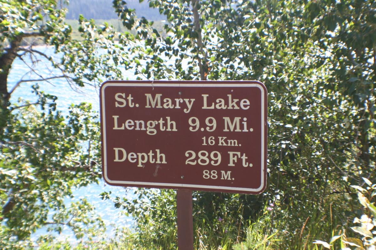 The sign at St. Mary Lake