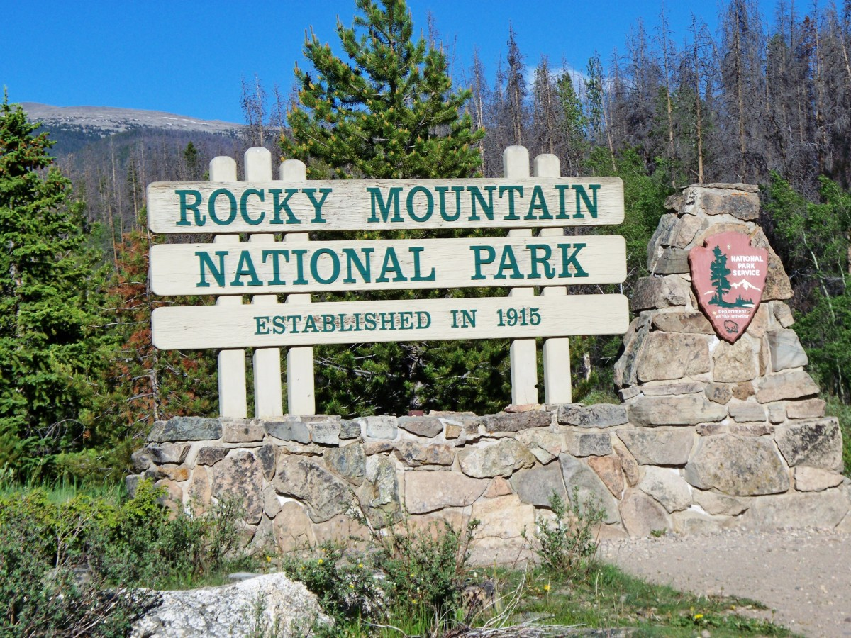 Rocky Mountain National Park sign at the start of Trail Ridge Road in Grand Lake, CO