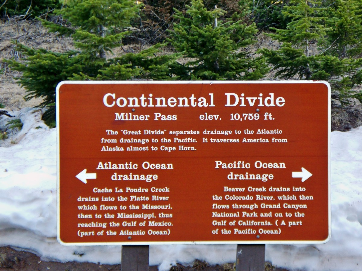 Continental Divide sign at Milner Pass on Trail Ridge Road in Rocky Mountain National Park