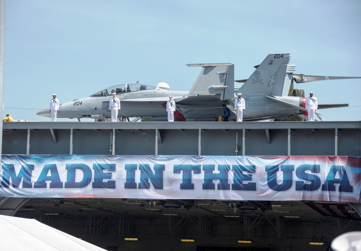 USS Gerald R. Ford Aircraft Carrier during its commissioning ceremony in July 2017 at the Naval Station Norfolk in Norfolk, VA