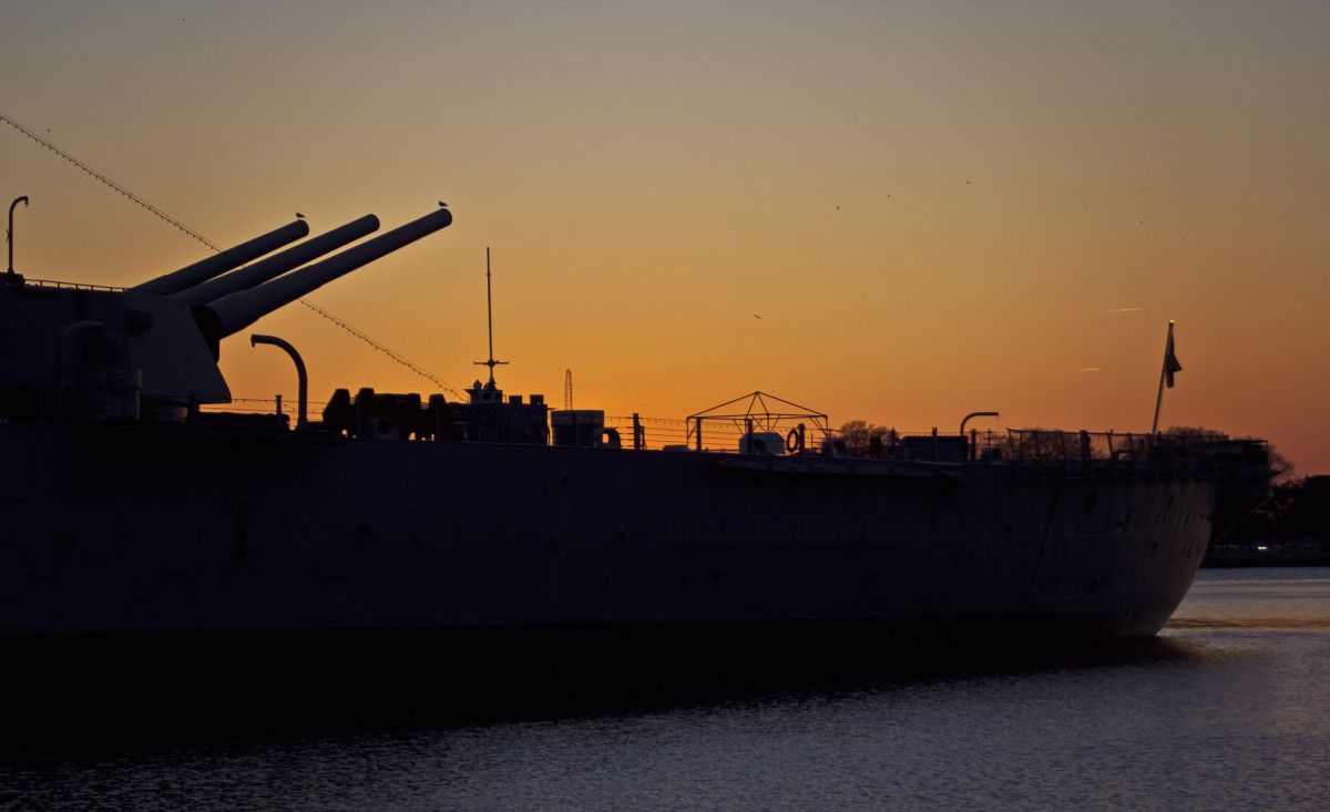 Sunset at the Battleship Wisconsin in Norfolk, VA