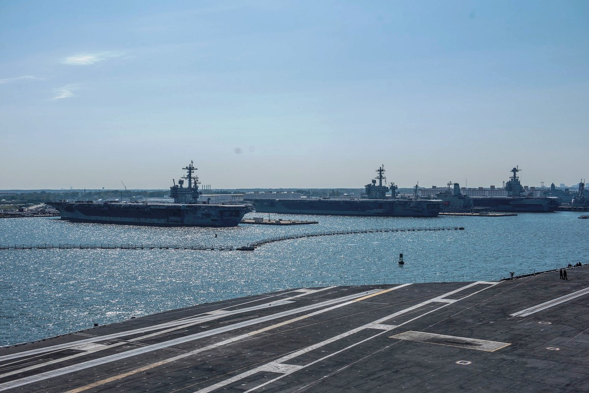USS Harry S. Truman Aircraft Carrier approaching Naval Station Norfolk in Norfolk, VA