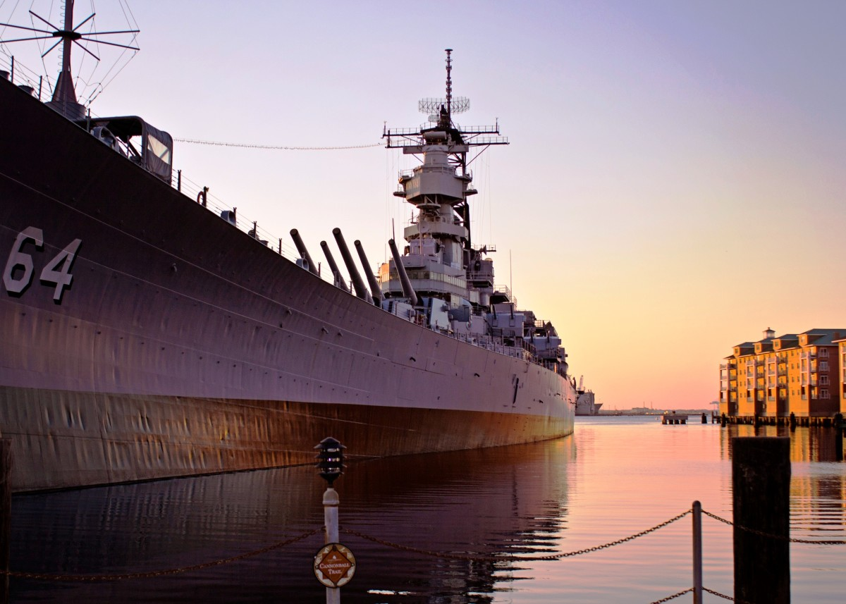 Sunset at Battleship Wisconsin in Norfolk, VA