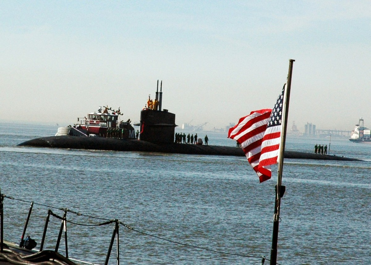 USS Newport News submarine heading into Naval Station Norfolk in Norfolk, VA