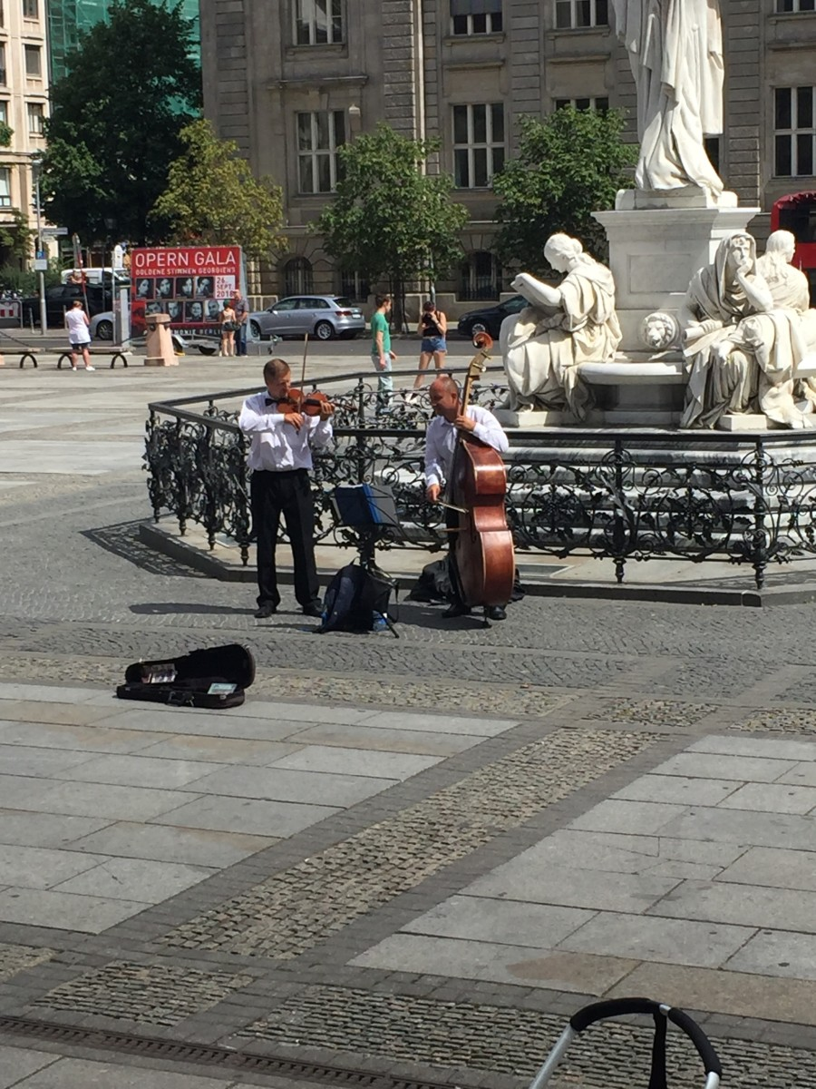 Musicians playing outside the concert hall at the Gendarmenmarkt