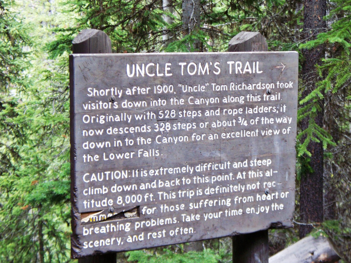 Uncle Tom's Trail to Lower Yellowstone Falls at Yellowstone National Park