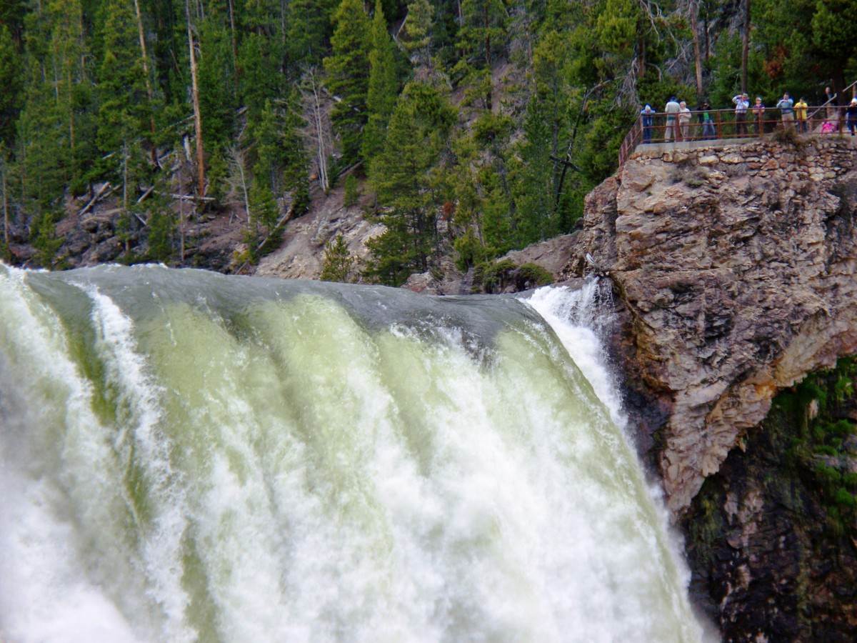 Top of Lower Yellowstone Falls at Yellowstone National Park