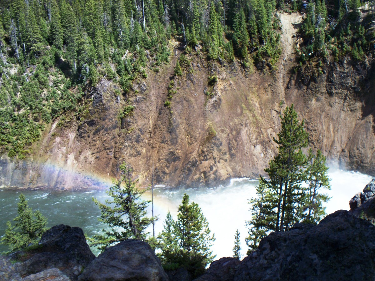 Rainbow in the midst in Upper Yellowstone Falls in Yellowstone National Park