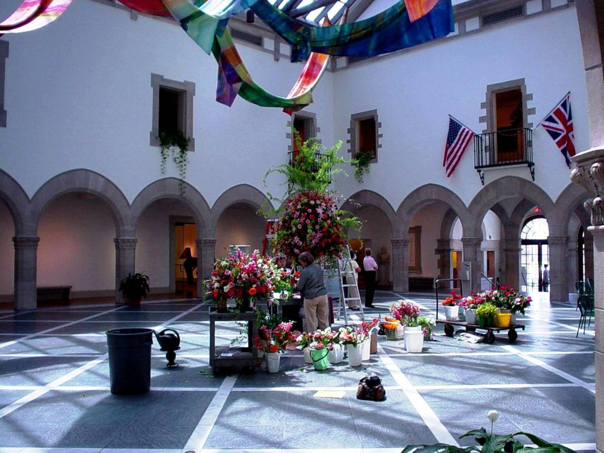 Atrium with floral display at the Chrysler Museum of Art in Norfolk, VA