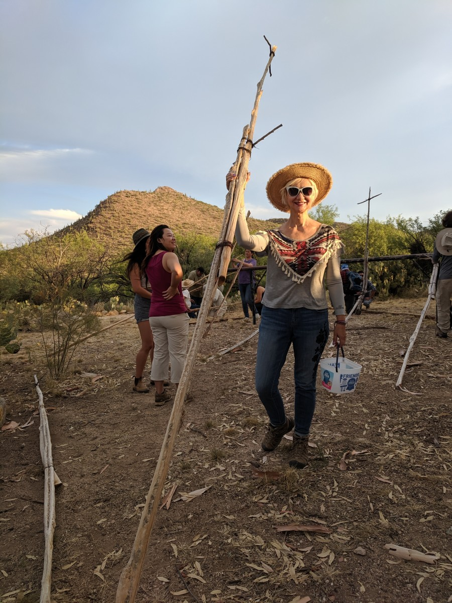 My wife with harvesting tool in hand and ready to venture forth to harvest Saguaro fruit