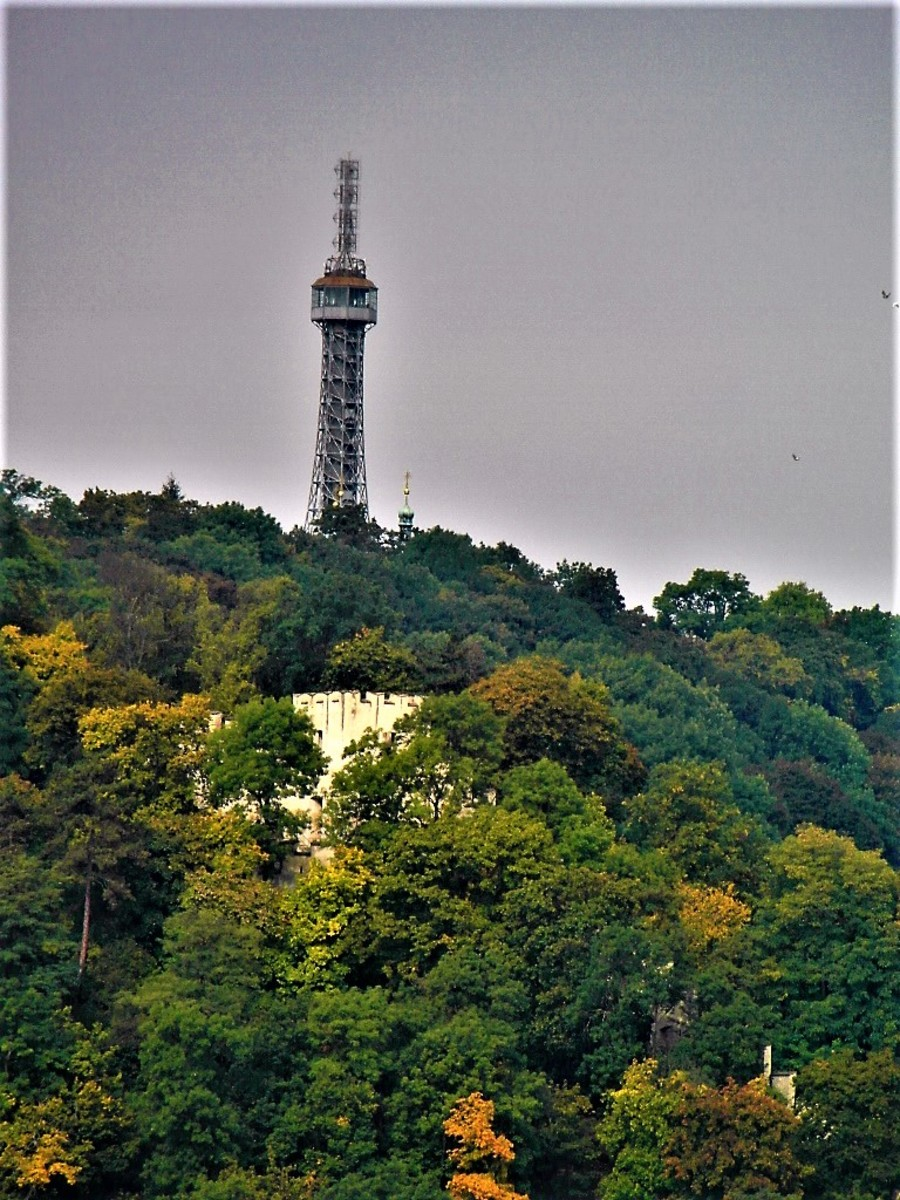 Observation Tower on Petrin Hill, seen from across the River Vltava.