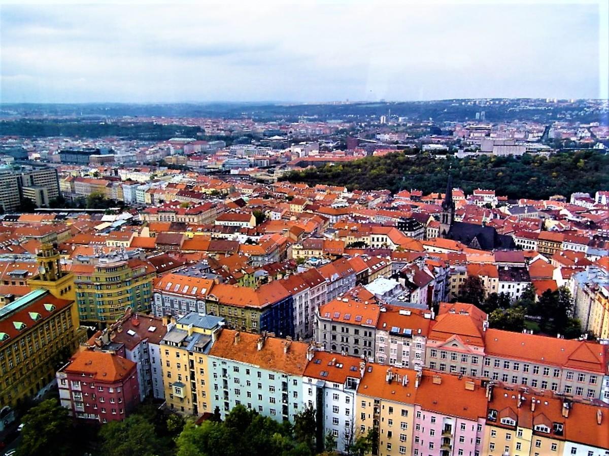 Bird's eye view from the Zizkov Television Tower, Prague.