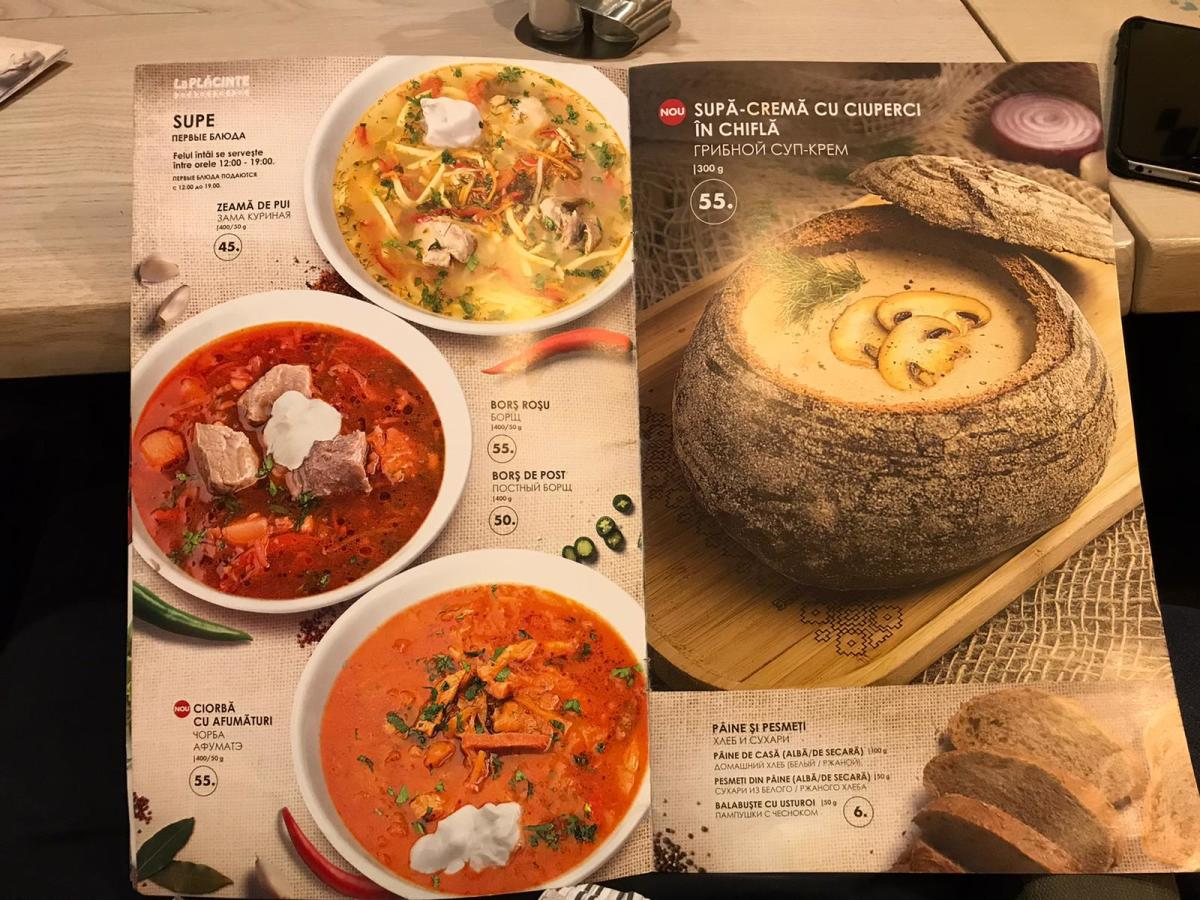 Typical Moldovan Soups, Including the Previously Pictured Bread Bowl