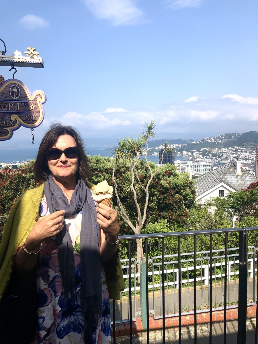 The author enjoying her feijoa and salted caramel sorbet!