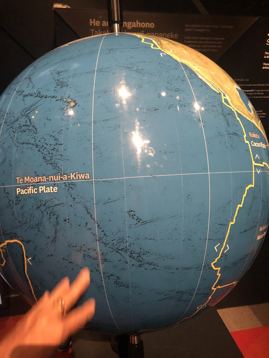 A Globe Showing the Pacific Plate and the Fault Lines