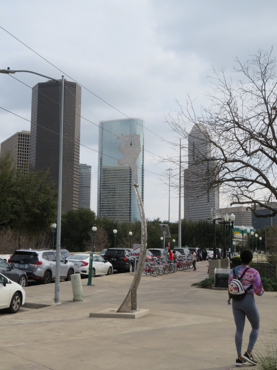 Downtown Houston provides a backdrop for this skatepark.
