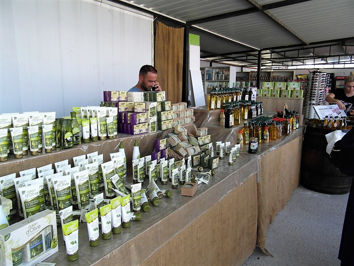 Products made with olives.