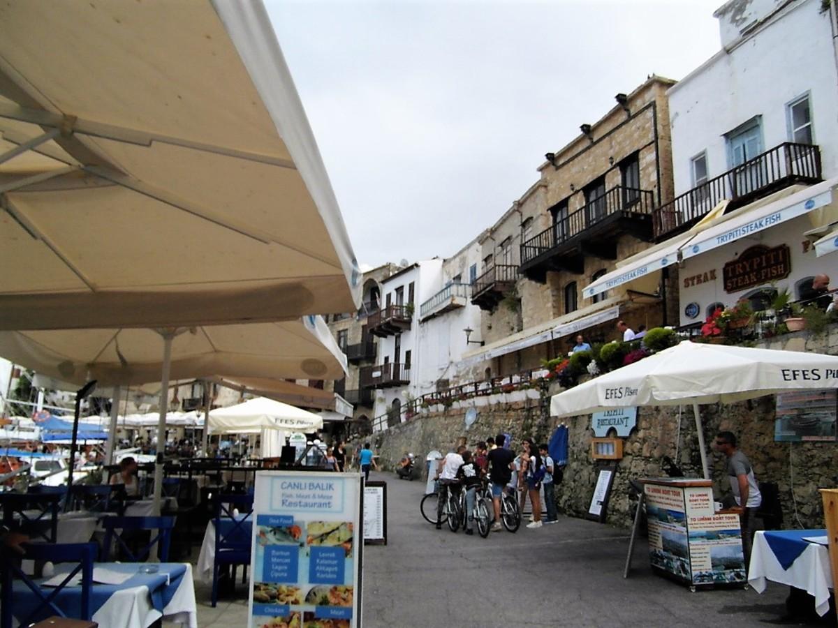 Restaurants line the quay in Kyrenia.