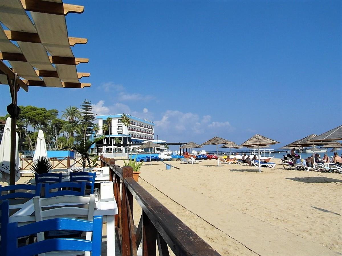 Towards Palm Beach Hotel.