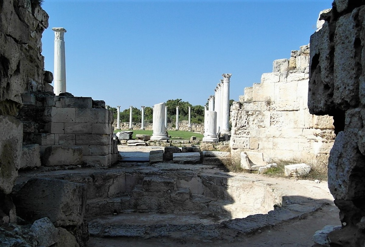 The columned courtyard beyond the baths at Salamis.
