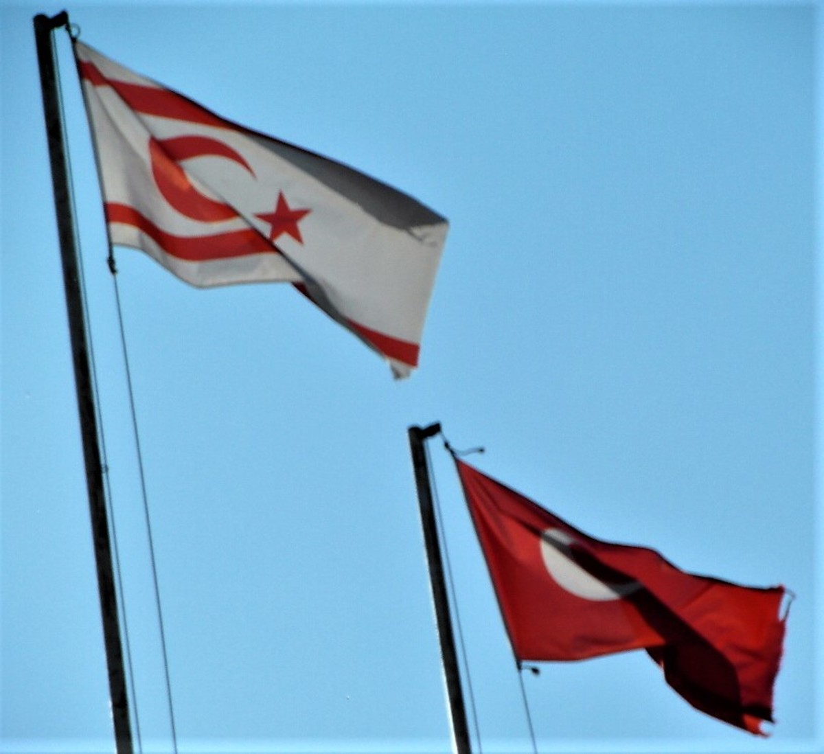 Two flags. Turkish Republic of Northern Cyprus and Turkey.