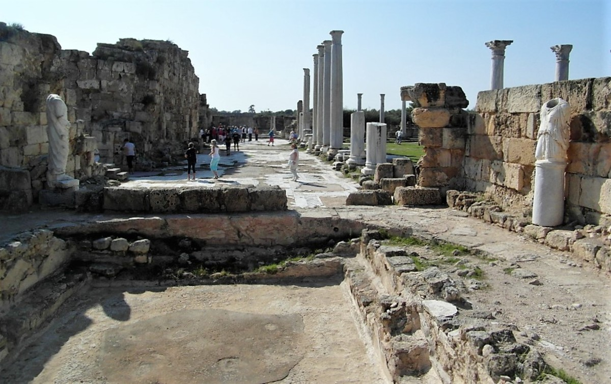 A first glimpse of the columned courtyard at Salamis from the north east..