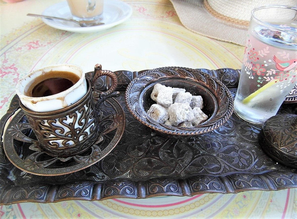 Turkish coffee, Turkish delight and water.