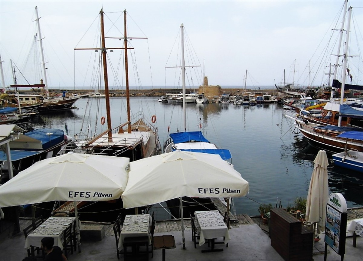 The view of Kyrenia harbor from our table.