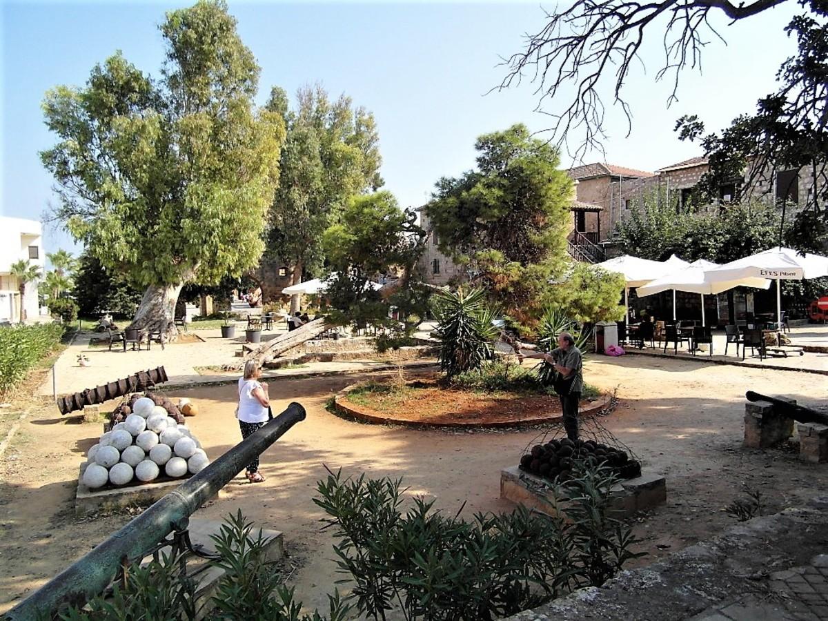 A view across the courtyard towards the Lala Mustafa Pasha Mosque.