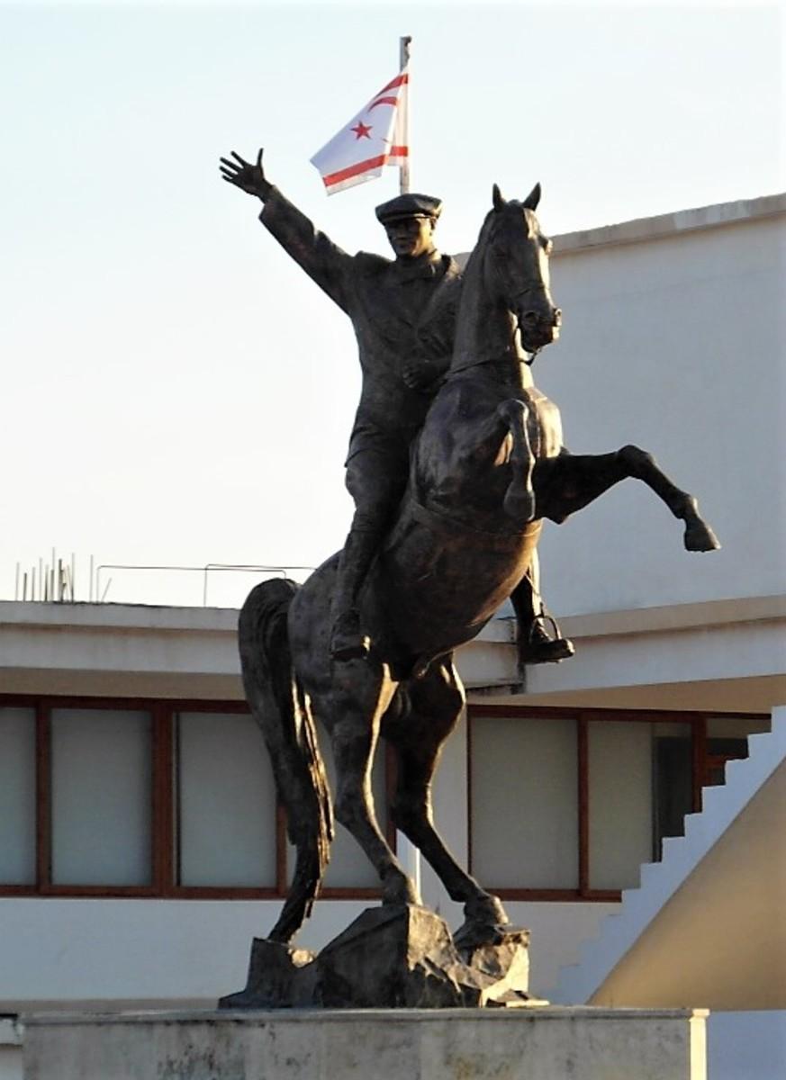 Statue of Mustafa Kemal Ataturk in Dipkarpaz.