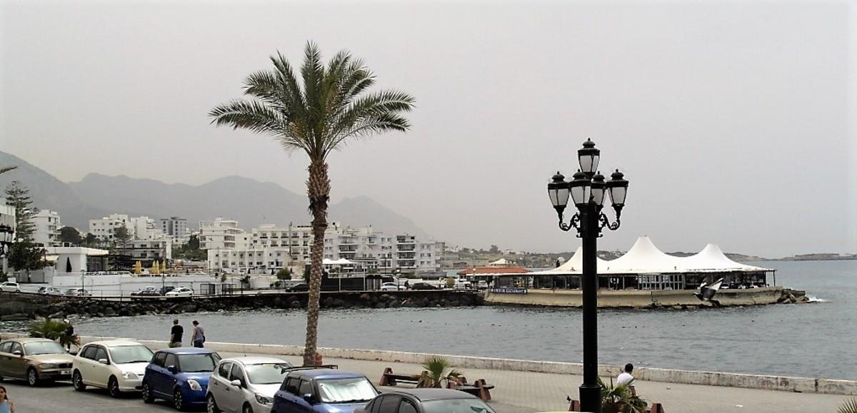 The coastline west from Kyrenia harbor.