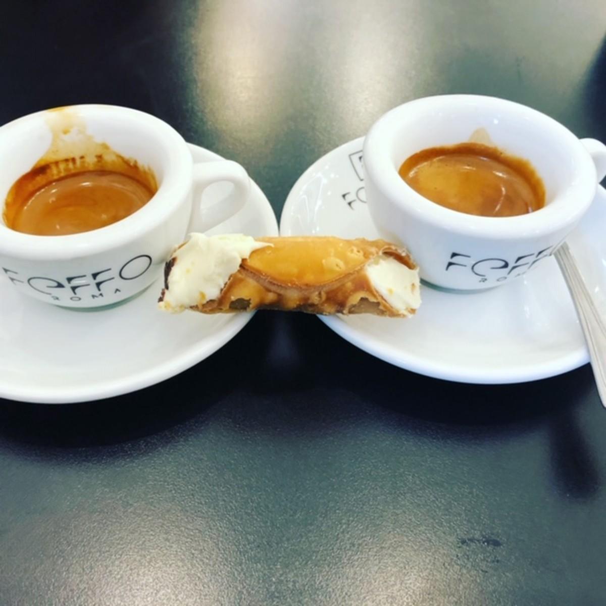 Espresso and mini Cannoli, Rome
